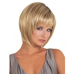 Short Bob Cheap Wig Straight Fluffy Synthetic Hair Wigs Side Bang Wig for Women Blonde Brown with Free Hair Net