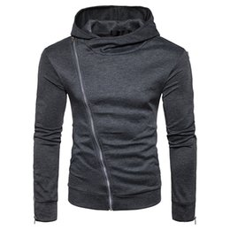 Free Shipping US SizeS-2XL High Quality New Fall 2017 Men's Hooded Pullover Sweater Coat Oblique Zipper