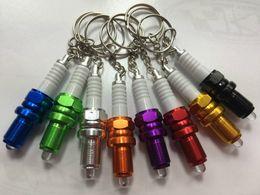 Wholesale LED key chain spark plug turbo keychains adapted key chain brake disc chain NOS nitrogen key ring