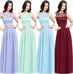 Lace Chiffon Bridesmaid Dresses Long 2019 A Line O Neck Zipper-Up Floor Length Wedding Guest Party Gowns Cheap CPS616