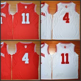 Wholesale 2016 College Indiana Hoosiers Isiah Thomas Jersey Victor Oladipo Cody Zeller Shirt Red White Stitched Basketball Jerseys