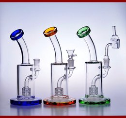 22cm small colorful glass bongs water pipes heady recycler oil rigs dab quartz banger bowl beaker bubbler honeycomb perc 14mm