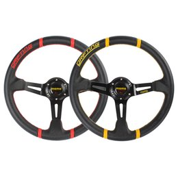 Wholesale Brand New Practical Momo Competition inch Aluminum Deep Dish Genuine Leather Car Steering Wheel CDE_406