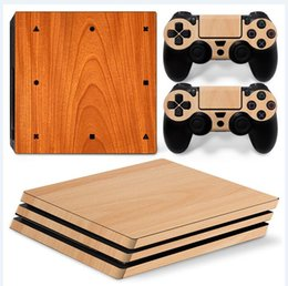 Light Wooden Style Full Set Vinyl Skin Sticker Decor Decals for Sony PS4 Pro Console Skin + 2 PCS Controller Cover Skin Stickers