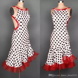 Adult Latin Dance Dress Salsa Tang Cha cha Ballroom Competition Group Dance Dress Dots Dress S-XXL Customizable A11