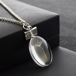 Wholesale Hot Fashion Wish Real Dandelion Crystal Necklace Glass Round Pendants Necklace Silver Chain Choker Necklace For Women Girl WH