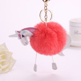 Newest 2017 Fashion Plush Unicorn Keychain Keyring Artificial Bunny Fur Pom Pom Ball Pendant Cute Women Key Chains Car Styling Bag Jewelry