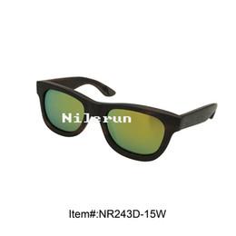 brand yellow mirror lenses ebony wood sunglasses
