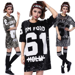 Women Beyonce Bulls Sequined Jerseys Girls Basketball 61 Sport Tops Pole Dance Disco Jazz Dance Hip-hop T Shirt Wholesale