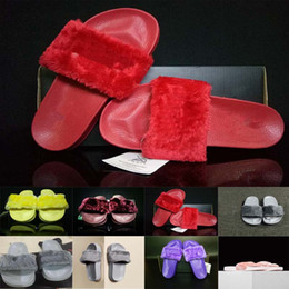 Wholesale With Original Box Cheaper Hot Rihanna Slippers Women Slipper Shoes Leadcat Fur Slides Indoor Sandals Girls Colors