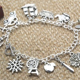 12pcs Once Upon A Time inspired bracelet Crown Swan Teapot Jiminy Cricket's umbrella Fairy charm bracelet