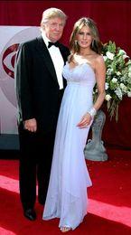 Wholesale Melania Trump Best Dressed Chiffon Celebrity Gowns Light Blue Empire Waist Beaded Ruffled Skirt Sweep Train Evening Dresses