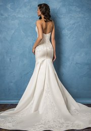 mermaid satin wedding dresses 2017 amelia sposa bridal gowns strapless semi sweetheart neckline embellished bodice elegant chapel train