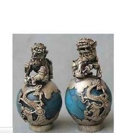 Wholesale Brass Crafted Human Vintage Pair Tibet Silver Dragon Turquoise Phoenix Ball Foo Fu Dog Guardion Lion Pair Statue Crafts Tibetan Silver