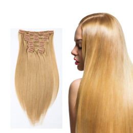 Thick Full Head Straight Clip In On Human Hair Extensions 7pcs set 16 clips Blonde Brown Black Optional Corlord Straight Crochet Human Hair