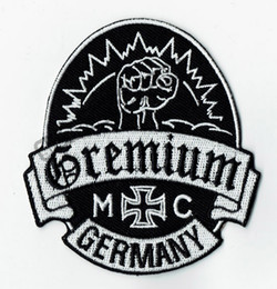 Personality Gremium Germany Embroidered Iron On Patch Iron On Sew On Motorcyble Club Badge MC Biker Patch Wholesale Free Shipping