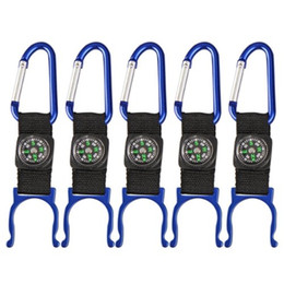 Promotion bouteilles d'eau mousqueton Vente en gros- JHO-5 Black Carabiner Water Holder bouteille clip sangle W / Compass Camp