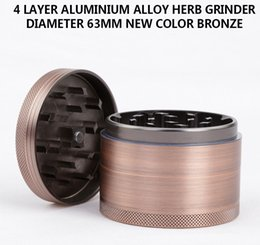 Wholesale New Bronze Grinders mm Herb Grinder Parts Aluminium Alloy Herb Spice Crusher Magnetic Top Individual Box Packed