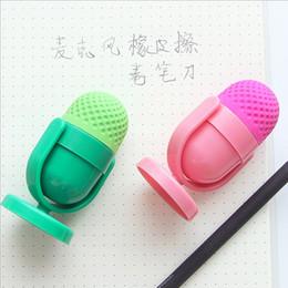 Venta al por mayor - 24 PC / micrófono creativo lindo del borrador de goma lindo de la porción Kawaii con el escolar material del sacapuntas de lápiz para los cabritos Regalo desde niños mini lápiz fabricantes