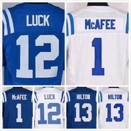 Wholesale Mens Pat McAfee Jersey Andrew Luck Jersey TY Hilton Jersey Elite Stitched Blue White Size S XL