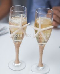 Wholesale Set of BEACH champagne flutes bride and groom wedding glasses with rope starfish for a rustic beach wedding decor