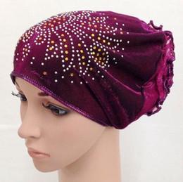 Wholesale rhinestones glitter hijab flower hat arab cap