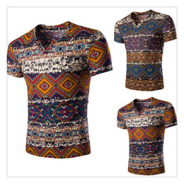 Wholesale T shirts for Men Fashion V neck Geometry Printing Short Sleeves Men s Casual Cotton Linen Summer Breathable T shirts US Size XS L