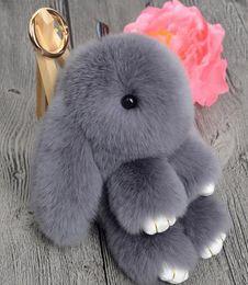 Wholesale DHL free Cute Mini Genuine Rabbit Fur Pom Pom Key Chain Women Trinket Rabbit Toy Doll Bag Car Key Ring Monster Keychain Jewelry Gift