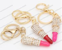 Monederos de las señoras regalos en Línea-(5 Colores) Lápiz labial Maquillaje Llavero Rhinestone Bolsa bolso Colgante Encanto Llavero Regalo de Navidad para la niña Mujer Señora MYY