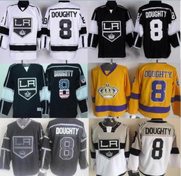 Wholesale LA Kings Authentic Jerseys Drew Doughty Jersey Home Los Angeles Kings White Black National Flag Edition alternate Hockey Jerseys Stadium