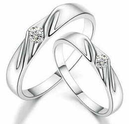 30% 925 Sterling Silver Rings 3 Layer White Gold Overlay Rings For Couple Austrian Crystal Wedding Couple Finger Jewelry Free Shipping