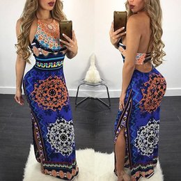 2017 hotsale European women's fashion flora printed chiffon dress personality and slit hollow printing package hip split long straps dress