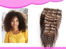 Wholesale Clip chaud de la vente dans les extensions de cheveux bruts brésiliens en cours de traitement de cheveux noirs bouclés g Cheap Light Brown