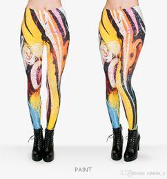 Polainas de la impresión de poliéster en venta-2017 Leggings de la nueva impresión de la aptitud para las mujeres Poliester libre Leggins suaves pantalones leggings florales de la yoga para el deporte de la gimnasia de las mujeres Patrón de la pintura