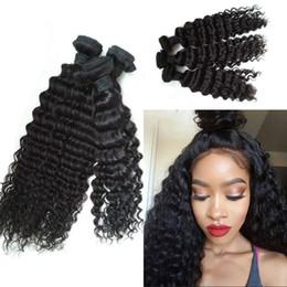Promotion 24 profonds faisceaux de cheveux bouclés Deep Wave Hair Wefts Cheveux humains birmanes 3 Bundles Weft Deep Curly Unprocessed Virgin Hair No Tangle