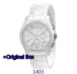 Cerámica blanca reloj de pulsera en venta-Reloj unisex caliente del regalo del reloj del cuarzo de la venda ar1403 ar1403 ar1403 ar1404 de la venda blanca libre del envío 2017 al estudiante y al niño + caja original