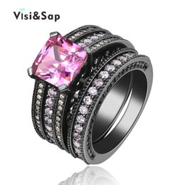 Visisap Black gold color Ring Pink stone 3 ct AAA cubic zirconia Vintage Wedding bridal Sets For Women Fashion Jewelry VSR116
