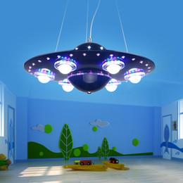 Étude sur les enfants en Ligne-LED OVNI Cartoon enfants chambre à coucher Étude des garçons Salon Salle à manger LED 31W - 40W idées Flying Saucer Droplight 110V- 240V