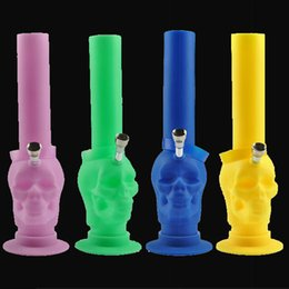 Wholesale Top selling New arrival colored Skull Silicone bongs Environmentally friendly portable foldable Non stick Silicone pipe Also sell denail kit