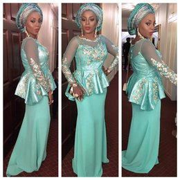 Sage Jewel Long Illusion Sleeves Evening Dresses With Applique Prom Gowns Back Zipper Custom Made Aso Ebi Formal Occasion Gowns