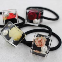 Transparent cube crystal ribbon tie ring girls FS00119