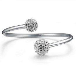 Descuento cristales checo pulseras Pulseras de plata checa perforación abierta brazaletes 30% 925 mujeres de plata de ley pulsera de boda Shamballa joyas de mano de la bola de cristal 12pcs