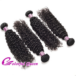 Les tissus bouclés en Ligne-Colorful Queen Malais Virgin Hair Kinky Curly Weave 4 Bundles 100% Human Hair Weft pour Micro Braids Black Hairstyles Kinky Curly