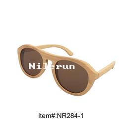 stylish round cat eye natural bamboo sunglasses