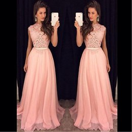 Pink Sheer Illusion UK Prom Dresses Chiffon Appliqued Lace A-line Long 2017 Special Occasion Party Gowns Floor Length 2017 New Style