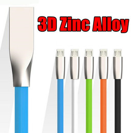New Hot 1M 3Ft Micro 3D Zinc Alloy Metal TPE USB Data Cables Charging Charger Wire Cords for V8 IP5 IP6 IP7