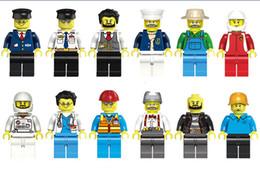 Figuras de la gente modelo en Línea-Minifigures 12 Pcs diferentes profesión de dibujos animados cosmonautMen personas modelo de figuras bloques de construcción juguetes educativos DIY ladrillos juguetes