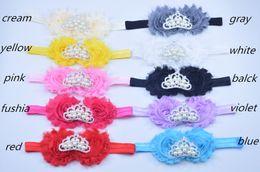 Baby Crown headband, Flower Tiara, Rhinestone and pearl Baby Headband, Shabby Flower Headband, Tiara Headband