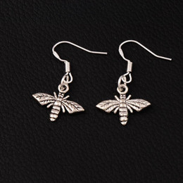 Bee Flying Earrings 925 Silver Fish Ear Hook 17.2x30.5mm 60pairs lot Antique Silver Chandelier E962