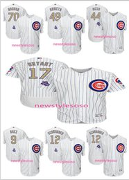 Promotion série de hockey 2017 Or Programme Or Chicago Cubs 9 Javier Baez 12 Kyle Schwarber 17 Kris Bryant 44 Anthony Rizzo 18 Maillots de baseball Zobrist Mix